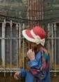 Laslusa İçten Ayarlanabilir Hasır Yarım Ay Fiyonklu Şapka Kırmızı